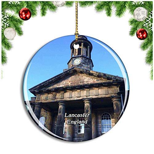 Weekino Lancaster City Museum UK England Christmas Ornament Xmas Tree Decoration Hanging Pendant Travel Souvenir Collection Double Sided Porcelain 2.85 Inch