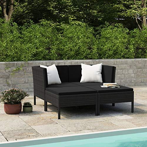 Ksodgun Set Muebles de jardín 4 Piezas y Cojines Conjunto de Jardín para Balcón Restaurante Piscina ratán sintético Negro + Negro