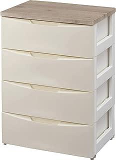 アイリスオーヤマ デザイン チェスト 4段 日本製 木天板 幅56×奥行42×高さ81㎝ アイボリー DW-554