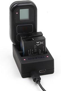 TELESIN Reemplazo batería 2 Pack con cargador multifuncional para GoPro Hero 6/Hero5  Hero 4 Cámaras (Multi cargador Hero 6/Hero 5/Hero 4) + 2 baterías para Hero 6/5