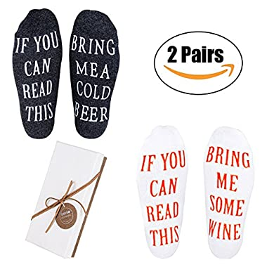 Wine Socks for Men - Funny Gifts with Gift Box  If You Can Read This Bring Me Some Wine  Luxury Combed Socks,Best Novelty Gifts for Wine Lover Birthday,Valentines Day,White Elephant