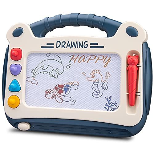 Automoness Pizarra Magnética Infantil, Almohadilla Borrable de Escritura y Dibujo con 4 Sellos y 1 Plumas,Juguetes Educativos para Niños de 3 Años