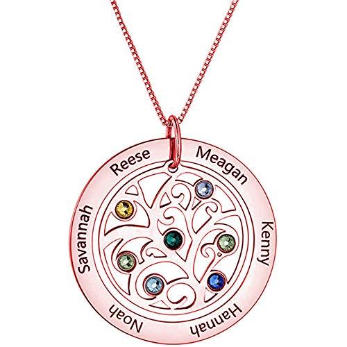Collar de mamá Collar familiar Collar con nombre personalizado Collar con colgante de árbol genealógico para mujer(Oro rosa 16)