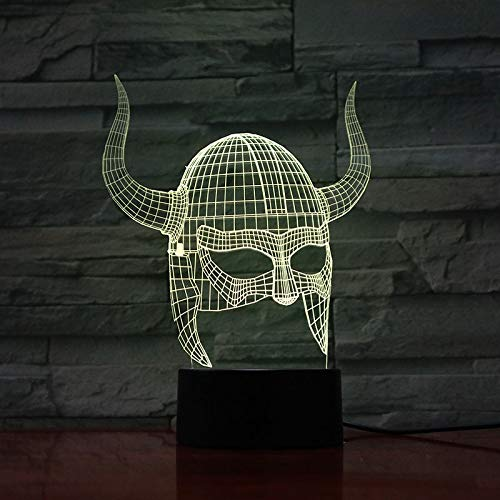 Cambio de Color del Efecto de luz Visual del Casco Vikingo con la Mejor lmpara de luz Nocturna Decorativa remota Art Deco Light
