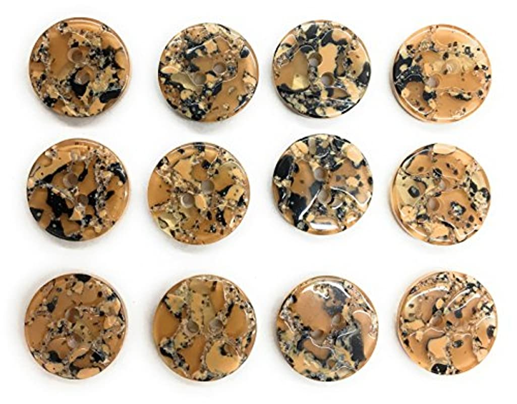 """12 Gold Beige Buttons Marbled Style 2 Hole Buttons 5/8"""" Blouses Buttons for Dress , Blouses , Shirts and Jackets sport coats 6pc."""