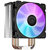 Jonsbo CR1000 RGB CPU Air Cooler, 4 Heat-Pipes, 158mm RGB CPU Fan, Aluminum Fins, Removable 128mm PWM Fans for AMD Ryzen/Intel LGA1151 CPU Cooler, Air Cooling Fan for CPU, Black
