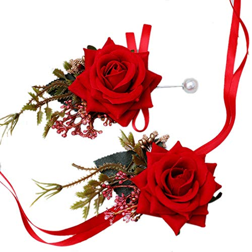 MYW Pols Bloemen de hand gemaakt corsage Wedding Celebration Beach Party Prom Hand Flower Decoration Polsband (Color : Red, Size : Corsage+Wrist flower)