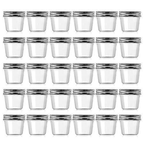 Novelinks 4 Ounce Clear Plastic Jars Containers With Screw On Lids - Refillable Round Empty Plastic Slime Storage Containers for Kitchen & Household Storage - BPA Free (30 Pack)