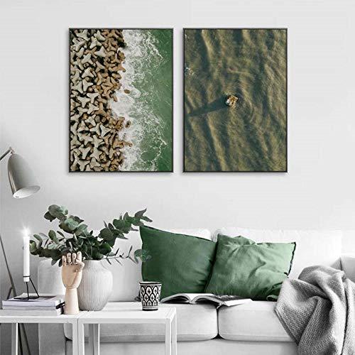 qggbgv Océano Playa Paisaje Lienzo Pintura Cartel escandinavo Estilo nórdico Verde Cuadro de Arte de Pared Cuadros para Sala de Estar decoración del hogar 50X70cmX2 (sin Marco