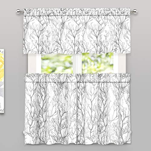 DriftAway Tree Branch Botanical Pattern Semi Sheer 3 Pieces Rod Pocket Kitchen Window Curtain Set with 2 Tiers 26 Inch by 36 Inch Each and 1 Valance 52 Inch by 18 Inch Gray White