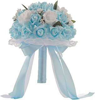 Anferstore Wedding Bouquets, Pearl Silk Roses Bridal Bridesmaid Wedding Hand Bouquet Artificial Fake Flowers for Wedding, Party and Church (Blue)