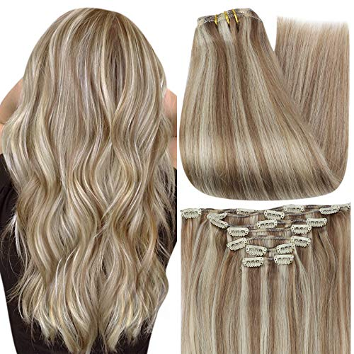 Full Shine Clip in Hair Extensions Blonde Highlights 18 Inch Real Hair Extensions Clip in Human Hair for Women with Short Hair, Brown Hair Clip in Extensions 7 Pieces 100 Gram Color 10P613