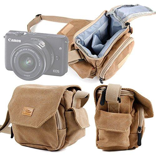 DURAGADGET Bolso Canvas para Cámara Evil Canon EOS M10 | Panasonic Lumix GX7 | Nikon 1 J5 | Sony NEX-3NLB | Olympus Pen E-PL6 | Sony Alpha A6300 - Marrón