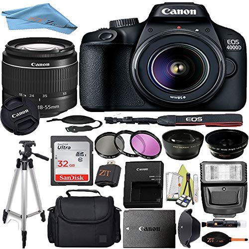 Canon EOS T100/4000D DSLR Camera with 18-55mm f/3.5-5.6 III + Professional Accessory ZeeTech Bundle (Professional Bundle + 32GB)