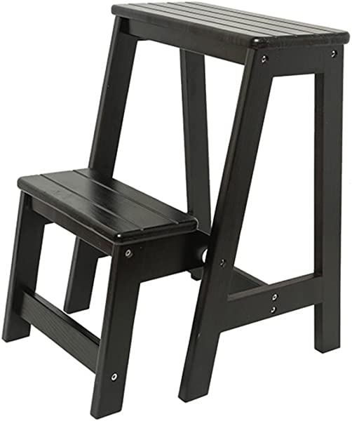 奇奇生活实木台阶凳子酒吧椅子多用途木梯台阶 3 色植物支架颜色黑色