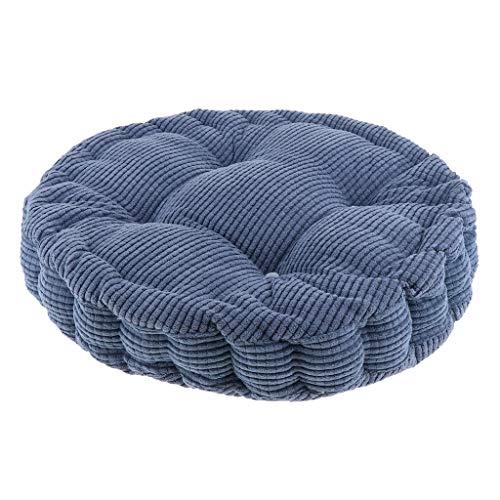 Almofada para cadeira de escritório em chamas espessa com almofada de assento de tatami redonda acolchoada para computador escolar macia e confortável almofada para cadeira de jantar, Denim Blue, 1