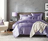 Purple Bedding Silk Like Satin Duvet Cover Set Luxury Purple Silky Microfiber Quilt Cover Solid Color Satin Bedding Sets Twin (66x90) 1 Duvet Cover 1 Pillowcase (Purple, Twin)