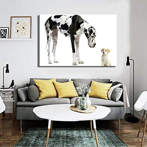 sanzangtang Poster und Kunstdrucke von modernen Schoßhunden Wandkunst Leinwandbild Dogge und süße Welpenbilder zur Raumwanddekoration Rahmenlos 70x105cm