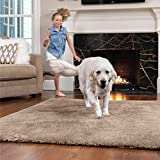 GORILLA GRIP Original Faux-Chinchilla Area Rug, 3x5 Feet, Soft and Cozy High Pile Washable Kids Carpet, Modern Rugs for Floor, Luxury Shaggy Carpets for Floors, Bed and Living Room, Taupe