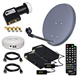 HB-DIGITAL Sat-Komplett-Set: Mini Sat Anlage 40cm Schüssel Anthrazit + UHD Twin LNB 0,1 dB + 20m Kabel + 2X HD SAT Receiver ( für HDTV geeignet )