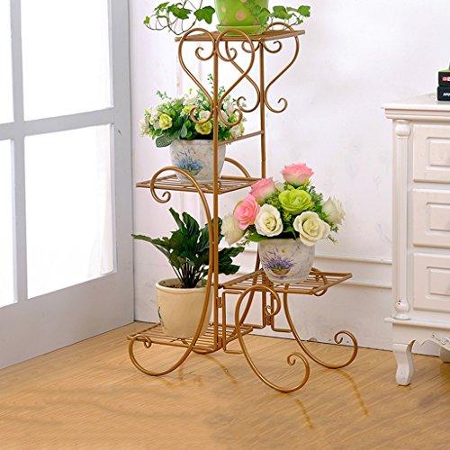 MLHJ Stand de Fleurs- Fleur de Fer Stand Plancher Fleur Pots Multi-étages Étagère À Fleurs Intérieur de Style Européen Fleur Salon Balcon Fleur Étagère 80 * 50 * 26 cm (Couleur : Brass)