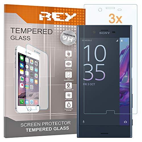 REY 3X Protector de Pantalla para Sony Xperia XZ, Cristal Vidrio Templado...