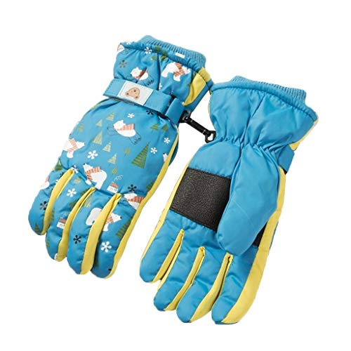 WXYPP Guantes de Invierno Niños Niñas Niños Ski Snowboard de la Nieve Antideslizante Guantes Impermeables Guantes Calientes for los niños 4-15 Años de Edad Outdoor (Color : Lake Blue, Size : Medium)