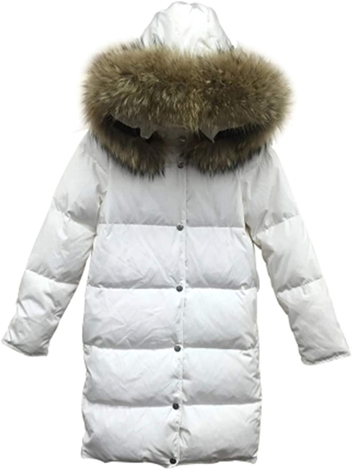 Dotoo Winter White Down Jacket Women's Long Fur Collar Polyester Fiber