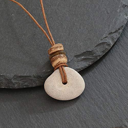 Halsband Hühnergott mit Kokosnuss und Seeglas - Glücksbringer
