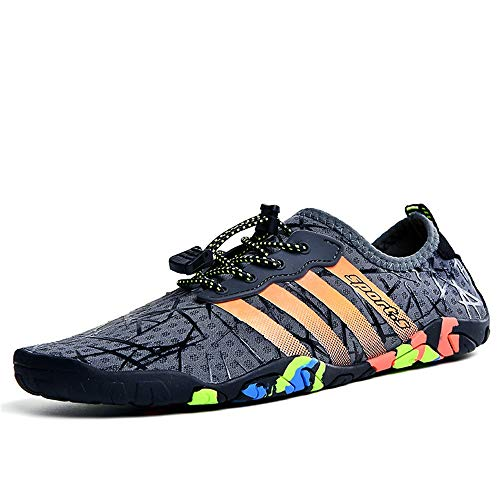 BGROESTWB Zapatos de Agua Al Aire Libre Senderismo Agua Zapatos Pareja Piel Natación Buceo Zapatos de la Playa Adecuado para Nadar Surf (Color : Gray, Size : 45)