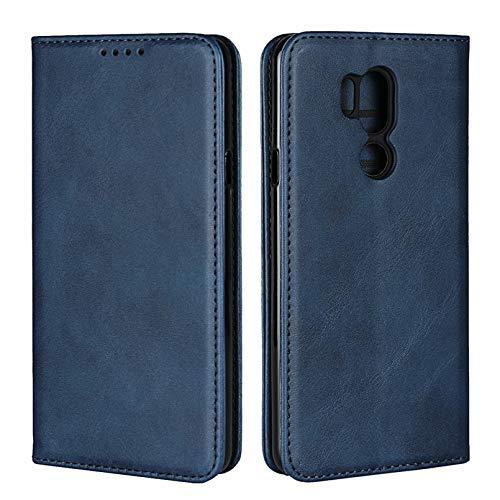 Zouzt Vagen Leather Folio Flip Wallet Case Geschikt voor LG G7 / G7 ThinQ met magnetische sluiting/standaardfunctie/kaartsleuven (Blauw)