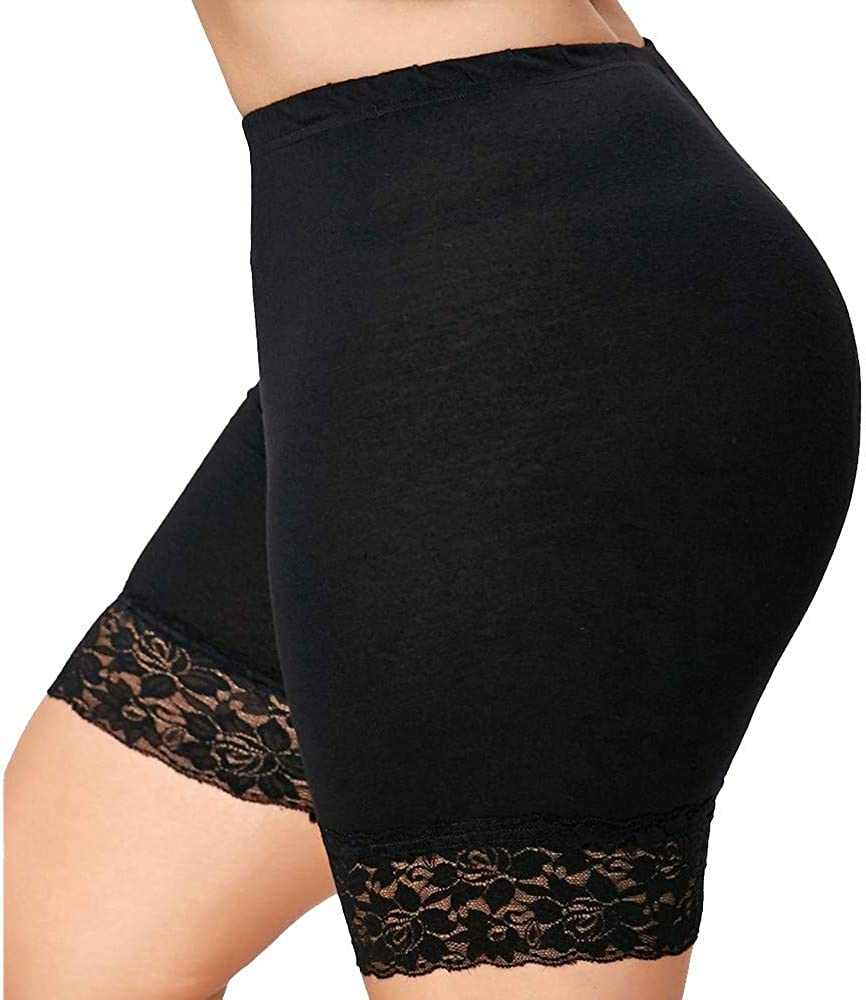 New Orleans Mall Plus Size Womens Mid Waist Lace Pants Sports Shorts Hot Elastic Super beauty product restock quality top
