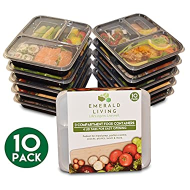 [10 pack] 3 Compartment BPA Free Meal Prep Containers. Reusable Plastic Food Containers & Lids. Stackable, Microwavable, Freezer & Dishwasher Safe. Bento Box / Lunch Box Container Set + EBook [36 oz]