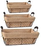A&B Home 33465 Joyce Baskets with Canvas Cloth, Rectangle, Set of 3