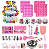 556 Pcs Silicone Lollipop Mold Set,Cake Pop Maker Kit,Baking Supplies with 3 Tier Cake Stand,Chocolate Candy Melting Pot, Lollipop Sticks,Bag and Twist Ties,Decorating Pen and 6 Piping Icing Tips