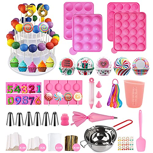 556 Pcs Silicone Lollipop Mold Set,Cake Pop Maker Kit,Baking Supplies with 3 Tier Cake...