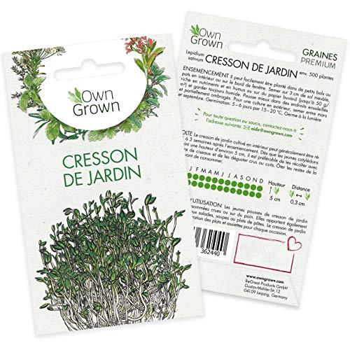 Graines de cresson de jardin (Lepidium sativum), semences de cresson de jardin cultivé OwnGrown, Semis pour environ 1500 plantes