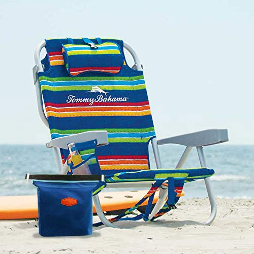 Tommy Bahama 2020 Backpack Cooler Beach Chair (Green Striped) with Storage Pouch and Towel Bar Plus De Reve Cooler Bag