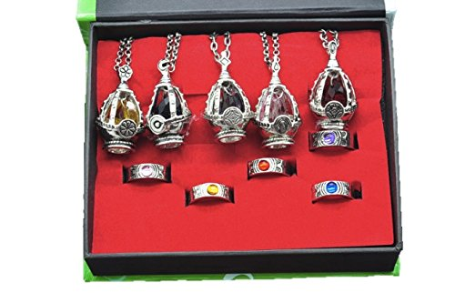 5種類全セット! 魔法少女まどか☆マギカ  ソウルジェム(ネックレス) + 指輪 セット チェーン 付き (ソウルジェム+ 指輪)