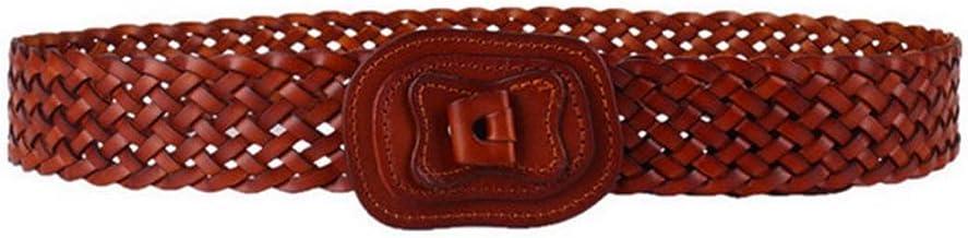 Pure Cowhide Woven Waist Belt For Dress Women Lady Leather Belt Casual Belt (Color : Khaki)
