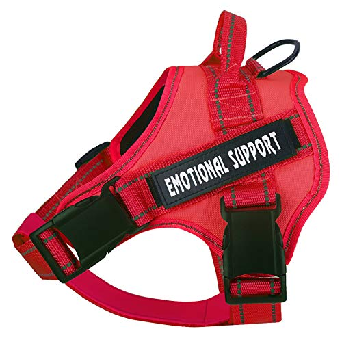 Service Dog Harness, No-Pull Emotional Support Pet Vest Harness, Reflective Breathable and Adjustable Pet Halters for Small Medium & Large Dogs (with 4 PCS Removeable Tags)