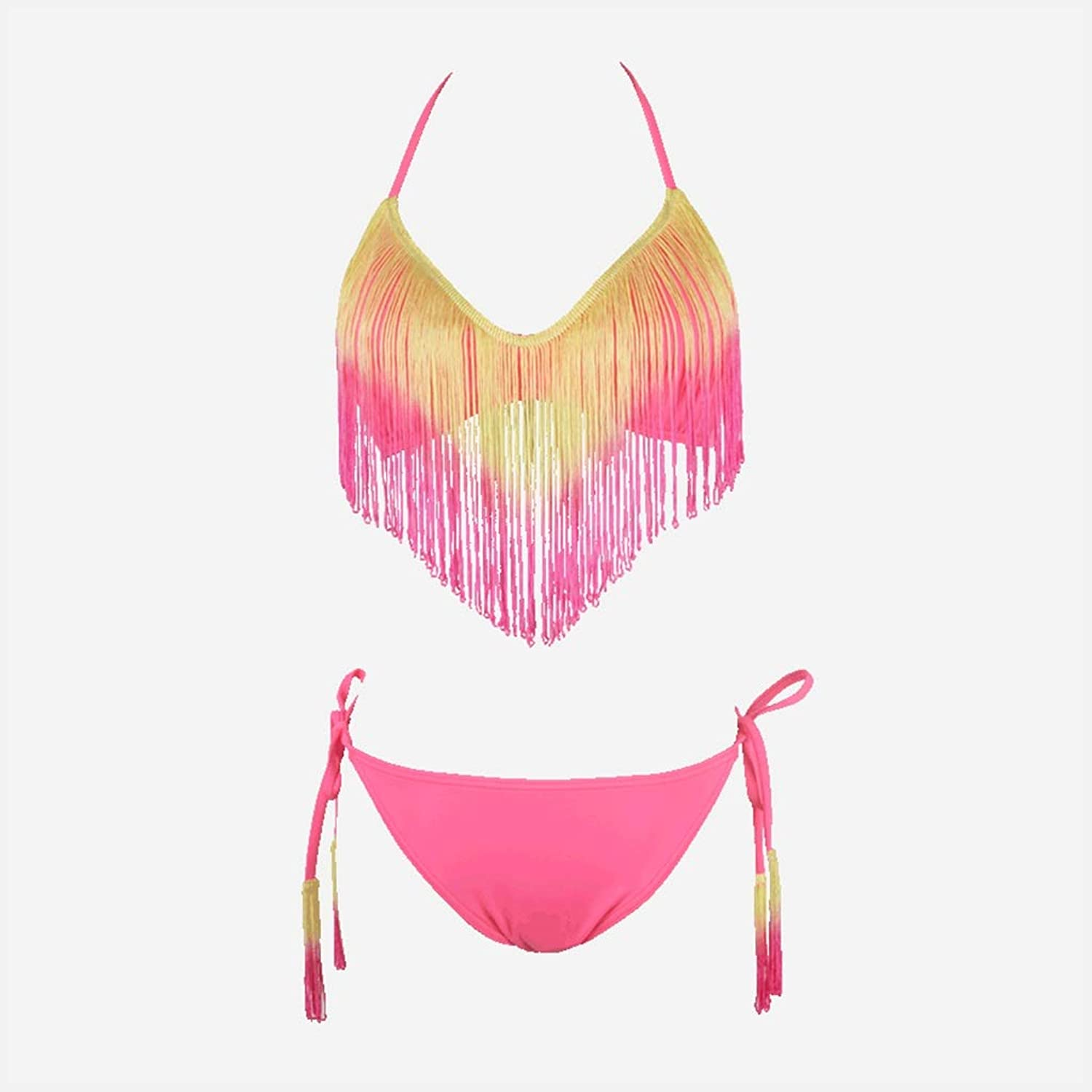 Sexy Gathered Fringed Triangle Split Style Seaside Beach Swimwear (color  Pink) (color   Pink, Size   S)