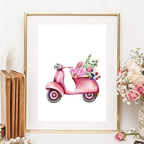 Kunstdruck Din A4 ungerahmt - Roller Vespa Motorroller Romantik Blumen Floral Rosa Pink Druck Bild