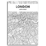 Moderno Londres Blanco Blanco Ciudad Mapa de lienzo Pinturas de lienzo Sala de la sala Arte de la pared Inglaterra Ciudad Pósters e impresiones para la decoración del hogar 24x32 inch Sin marco