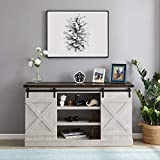 Recaceik Farmhouse TV Stand Entertainment Center Sliding Barn Door Wood Storage Cabinet 60' Flat-Panel Television Living Room| Buffet in Your Kitchen (White)