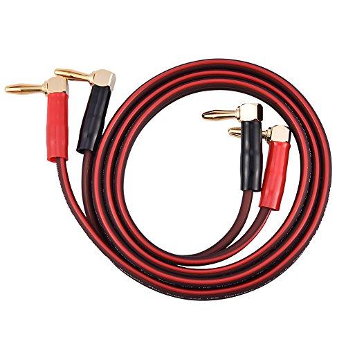Zuiver koperen HI-FI-luidsprekerkabel Rechts L Banaanstekker Zuiver koper Rode en zwarte (1M) kabel