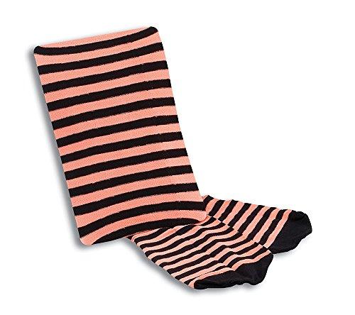 Tights. Striped Neon Orange/Black