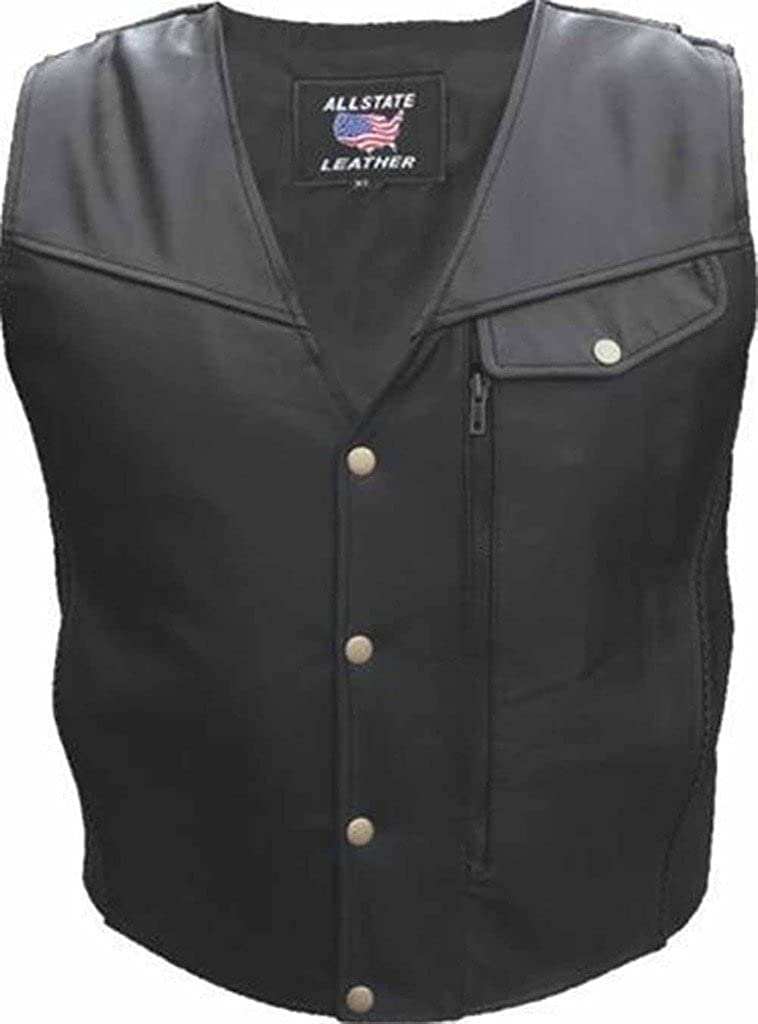 Men's Black Naked Leather Motorcycle Vest with Braid Trim