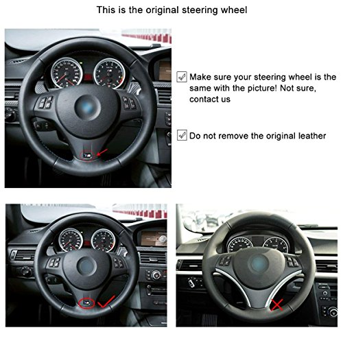 Loncky Auto Black Suede Steering Wheel Covers for BMW E92 M3 2013 2012 2011 2010 2009/2011 BMW 1 Series M Interior Accessories Parts