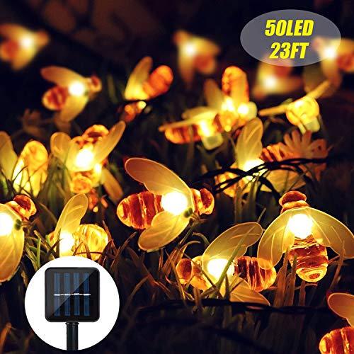 Stringa di luci solari impermeabili da 230 m, 50 LED, 8 modalità per interni, esterni, giardino, feste, matrimoni, decorazioni natalizie e giardini, colore bianco caldo